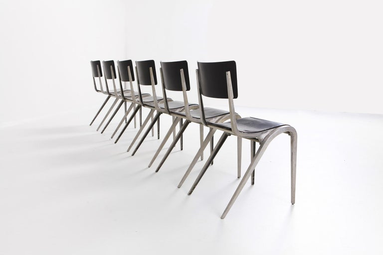European Industrial Mid-Century Modern Chairs by James Leonard for Esavian For Sale