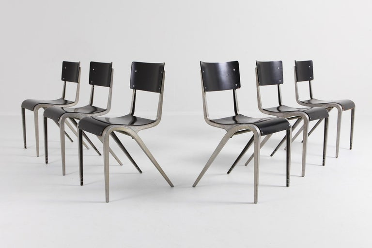 Industrial Mid-Century Modern Chairs by James Leonard for Esavian In Good Condition For Sale In Antwerp, BE