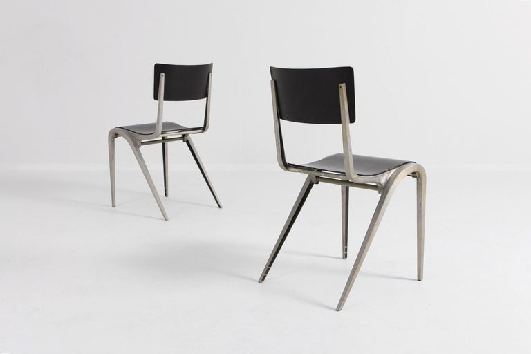 Aluminum Industrial Mid-Century Modern Chairs by James Leonard for Esavian For Sale