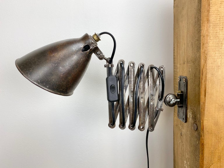 20th Century Industrial Midcentury Scissor Wall Lamp, 1950s For Sale