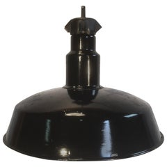 Industrial Midcentury Black Enamel Factory Lamp, 1950s