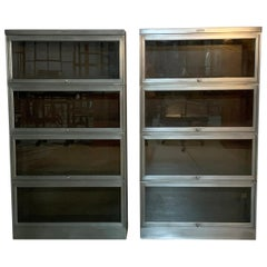 Industrial Midcentury Brushed Steel Barrister Cases by Steelcase