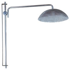 Industrial Midcentury Chrome Perforated Steel Wall Mount Swivel Light