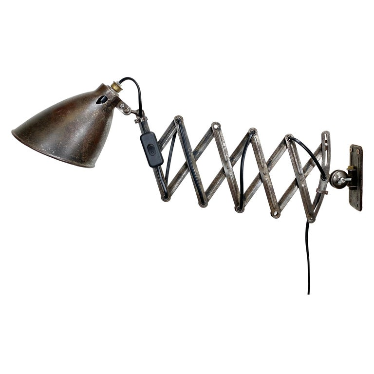 Industrial Midcentury Scissor Wall Lamp, 1950s For Sale