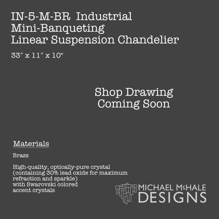 American Industrial Mini-Banqueting Bronze Linear Suspension Chandelier For Sale