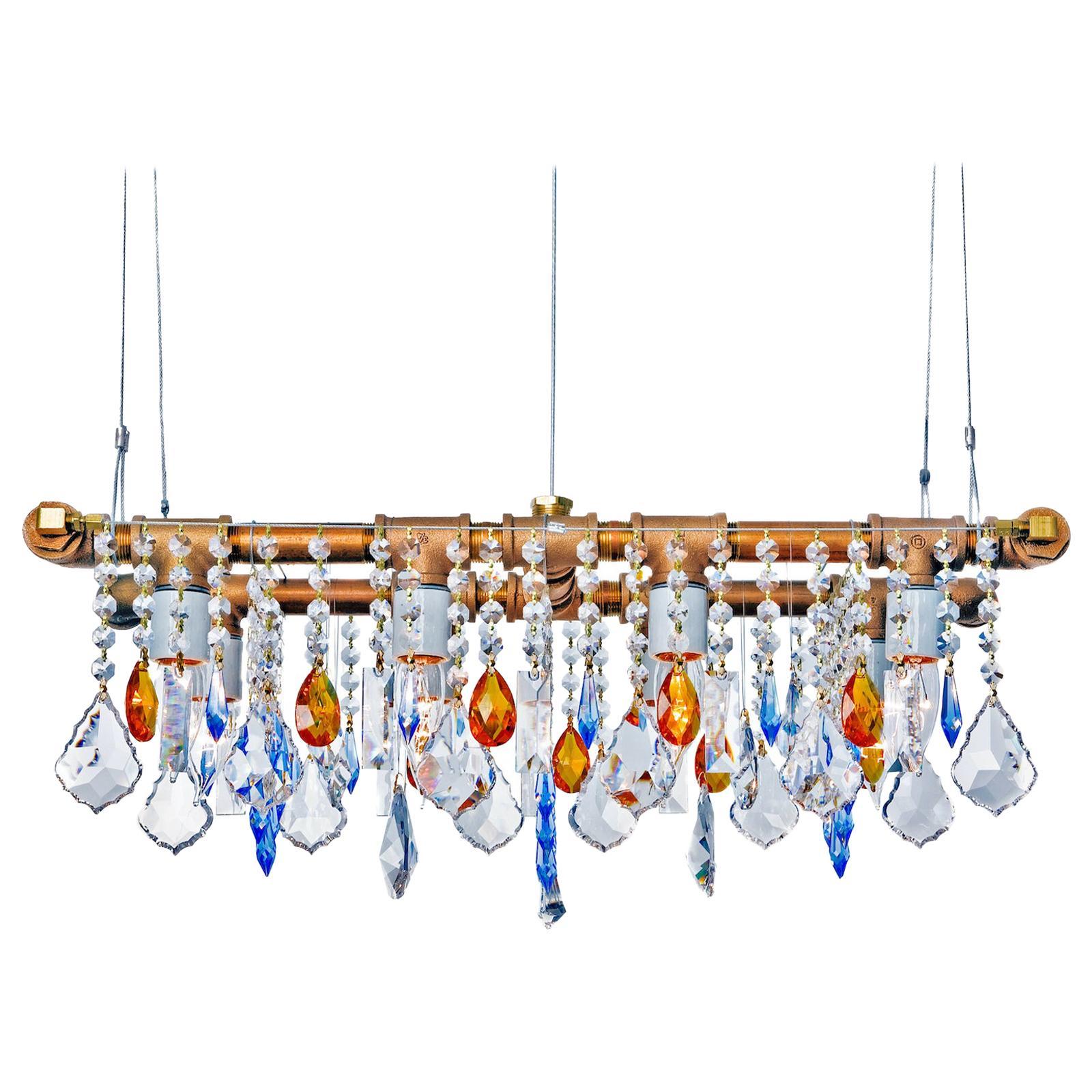 Industrial Mini-Banqueting Bronze Linear Suspension Chandelier