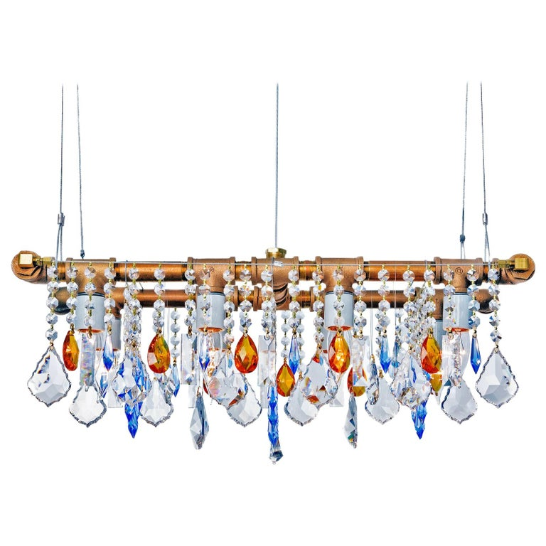 Industrial Mini-Banqueting Bronze Linear Suspension Chandelier For Sale
