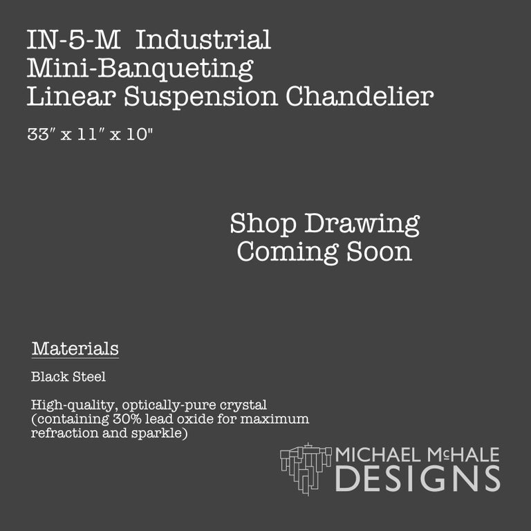 American Industrial Mini-Banqueting Linear Suspension Chandelier For Sale