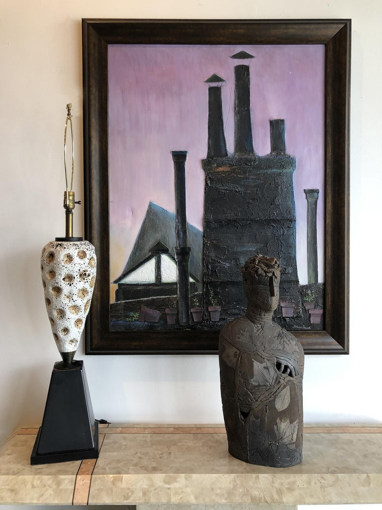 Industrial mixed-media oil painting by Robert Blanchard  Offered for sale is a vintage 1960s Industrial mix media oil on canvas by Robert Blanchard. The painting encompasses a textured roof garden with raised dimensional stacks and flower pots.