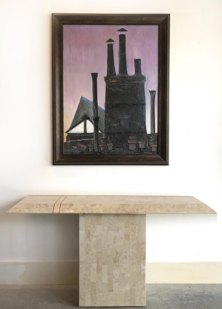 American Industrial Mixed-Media Oil Painting by Robert Blanchard For Sale
