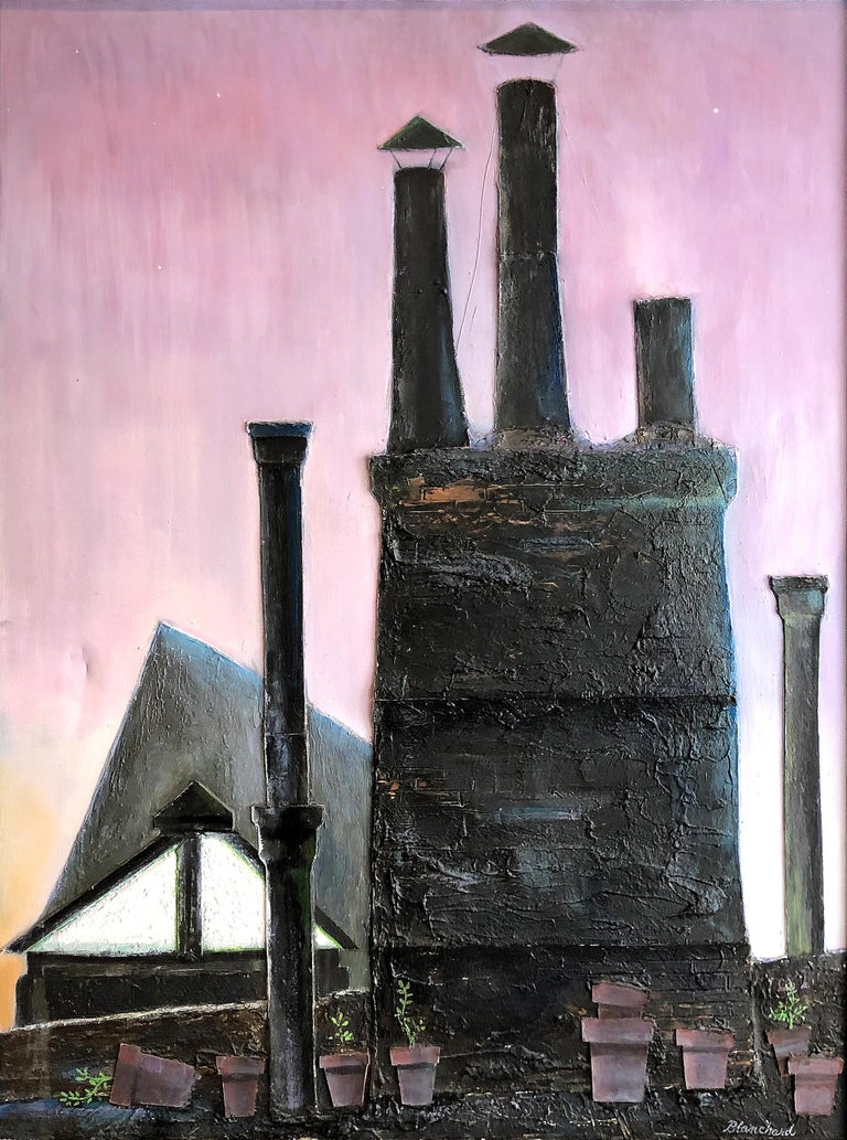 Hand-Painted Industrial Mixed-Media Oil Painting by Robert Blanchard For Sale