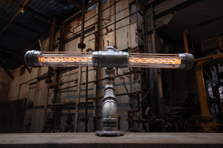 American Industrial Modern Desk Lamp Steel, Touch Activated, USA Pandemic Design Studio For Sale