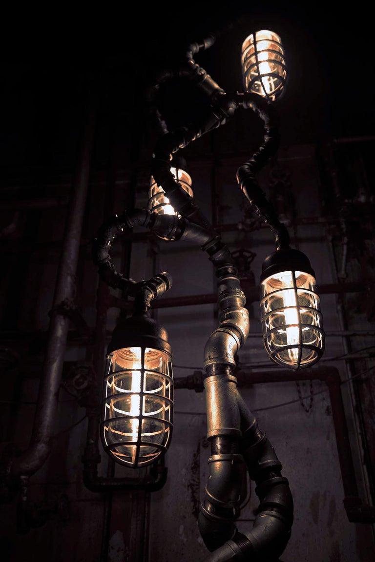 Polished Industrial Modern Floor Lamp Antique Crouse Hinds, Steel Pandemic Design Studio For Sale