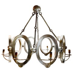 Industrial Modern Niermann Weeks Handmade Silvered Wood Chandelier, CLEARANCE