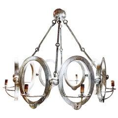 Industrial Modern Niermann Weeks Handmade Silvered Wood Chandelier, Contemporary