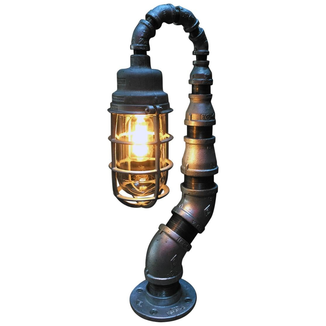 Industrial Modern Table Lamp, Antique Crouse Hinds, USA Pandemic Design Studio