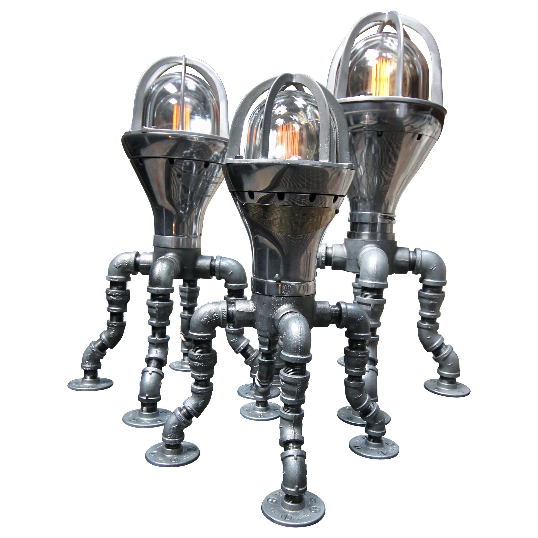 Industrial Modern Table Lamp Set, Antique Crouse Hinds, Pandemic Design Studio