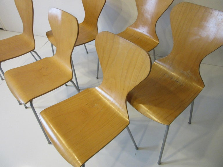 Industrial Molded Plywood Dining Chairs For Sale 4