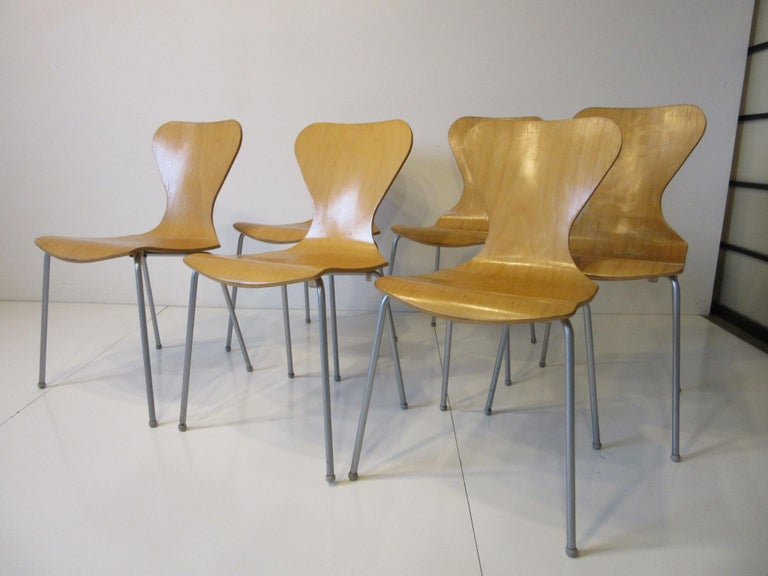 Industrial Molded Plywood Dining Chairs For Sale 6
