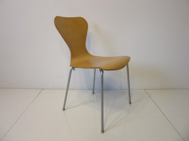 American Industrial Molded Plywood Dining Chairs For Sale