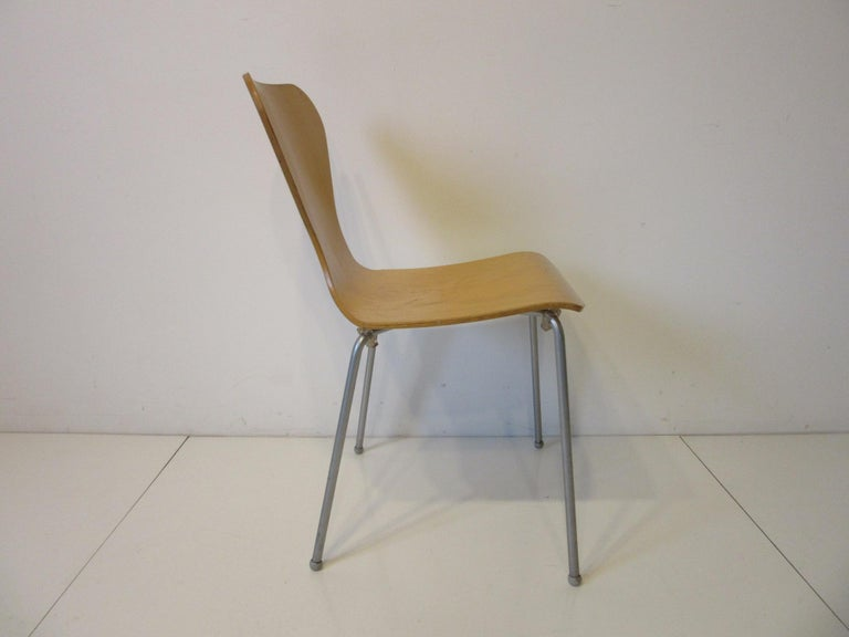 Industrial Molded Plywood Dining Chairs In Good Condition For Sale In Cincinnati, OH