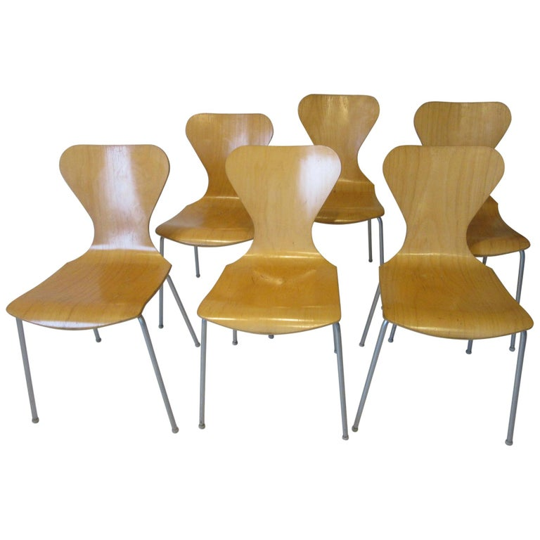 Industrial Molded Plywood Dining Chairs For Sale