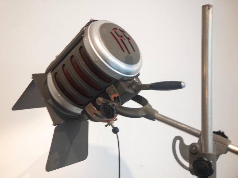 Industrial Movie Theater Photography Spotlight or Floor Lamp from Italy, 1940 For Sale 5