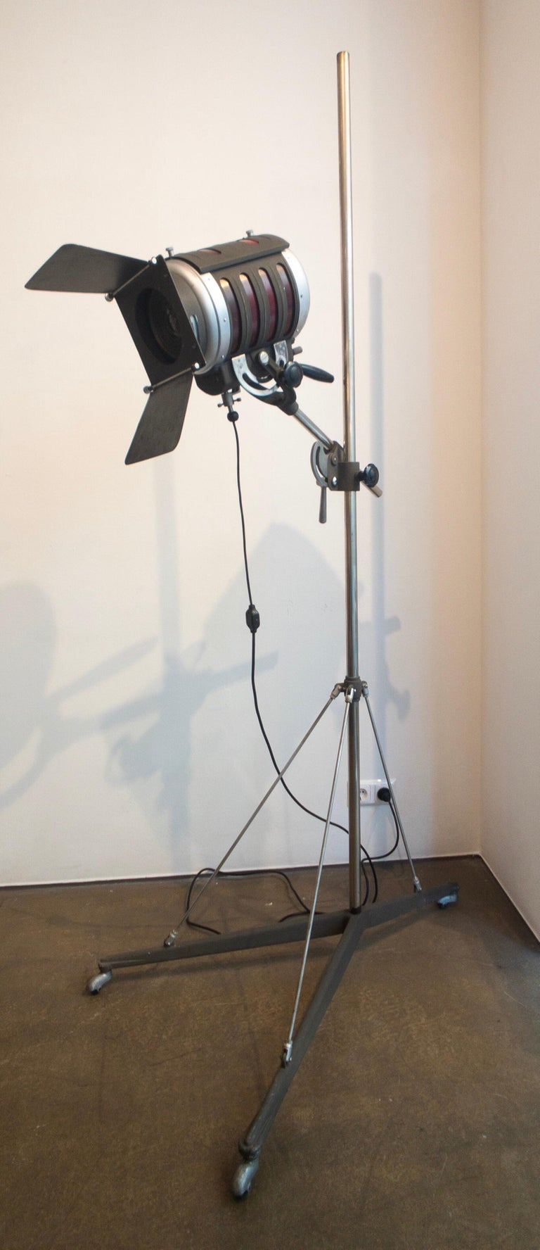Very rare industrial movie spotlight from Italy, produced circa 1940 in Florence. The spotlight is made from steel and is fixed to a rod. The height of the light is convertible. The piece could also be used as a floor lamp.