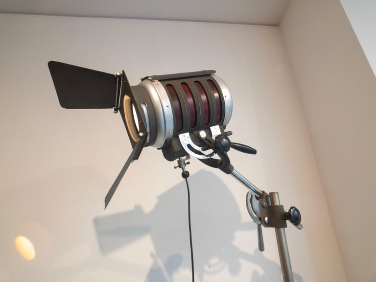 Steel Industrial Movie Theater Photography Spotlight or Floor Lamp from Italy, 1940 For Sale