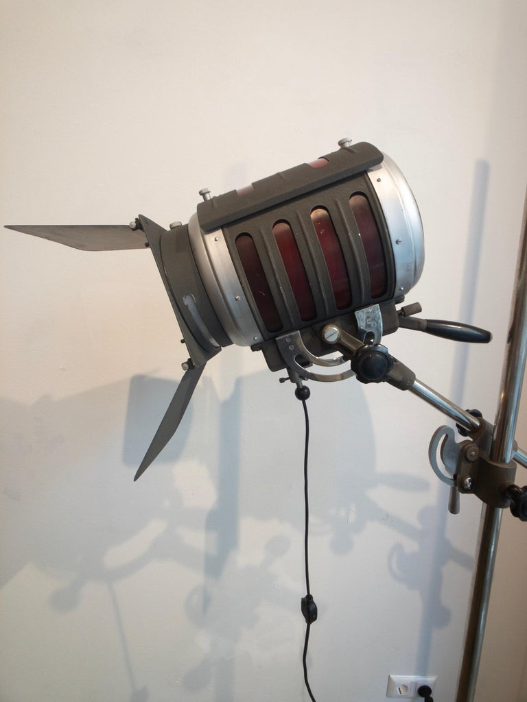 Industrial Movie Theater Photography Spotlight or Floor Lamp from Italy, 1940 For Sale 1
