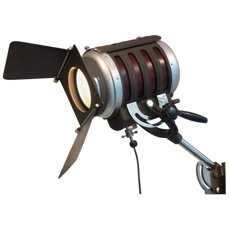 Industrial Movie Theater Photography Spotlight or Floor Lamp from Italy, 1940 For Sale