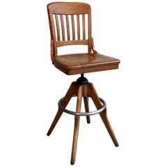 Industrial Oak Swivel Drafting Stool by Gunlocke