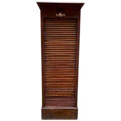 Industrial Oak Tambour File Cabinet
