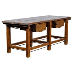 Industrial Oak Worktable, 1950s