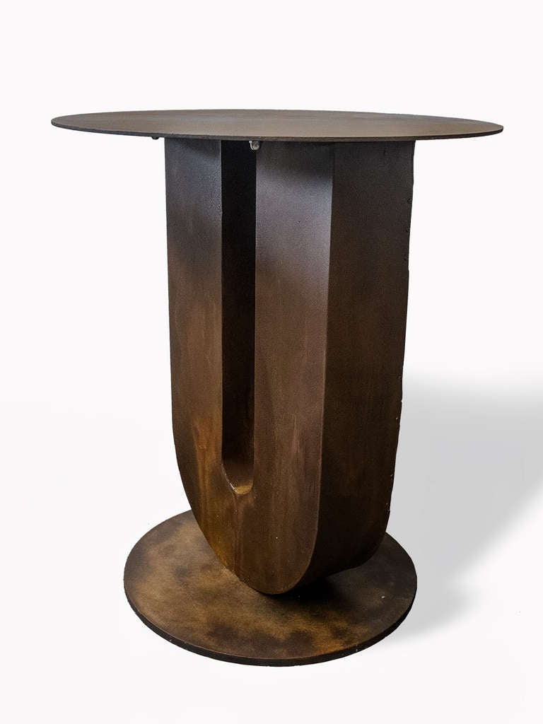 Mid-20th Century Industrial Outdoor Round Bistro Tables, USA, 1940 For Sale