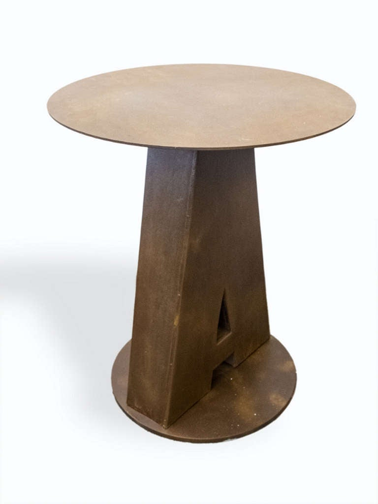 Iron Industrial Outdoor Round Bistro Tables, USA, 1940 For Sale