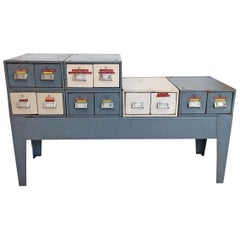 Industrial Patinated Set of Interchangeable Metal Filing Drawers by Davell