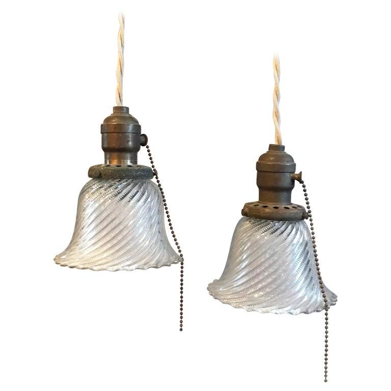 Industrial Bell Pendant Light: Industrial Petite Diagonal Swirl Holophane Bell Pendant