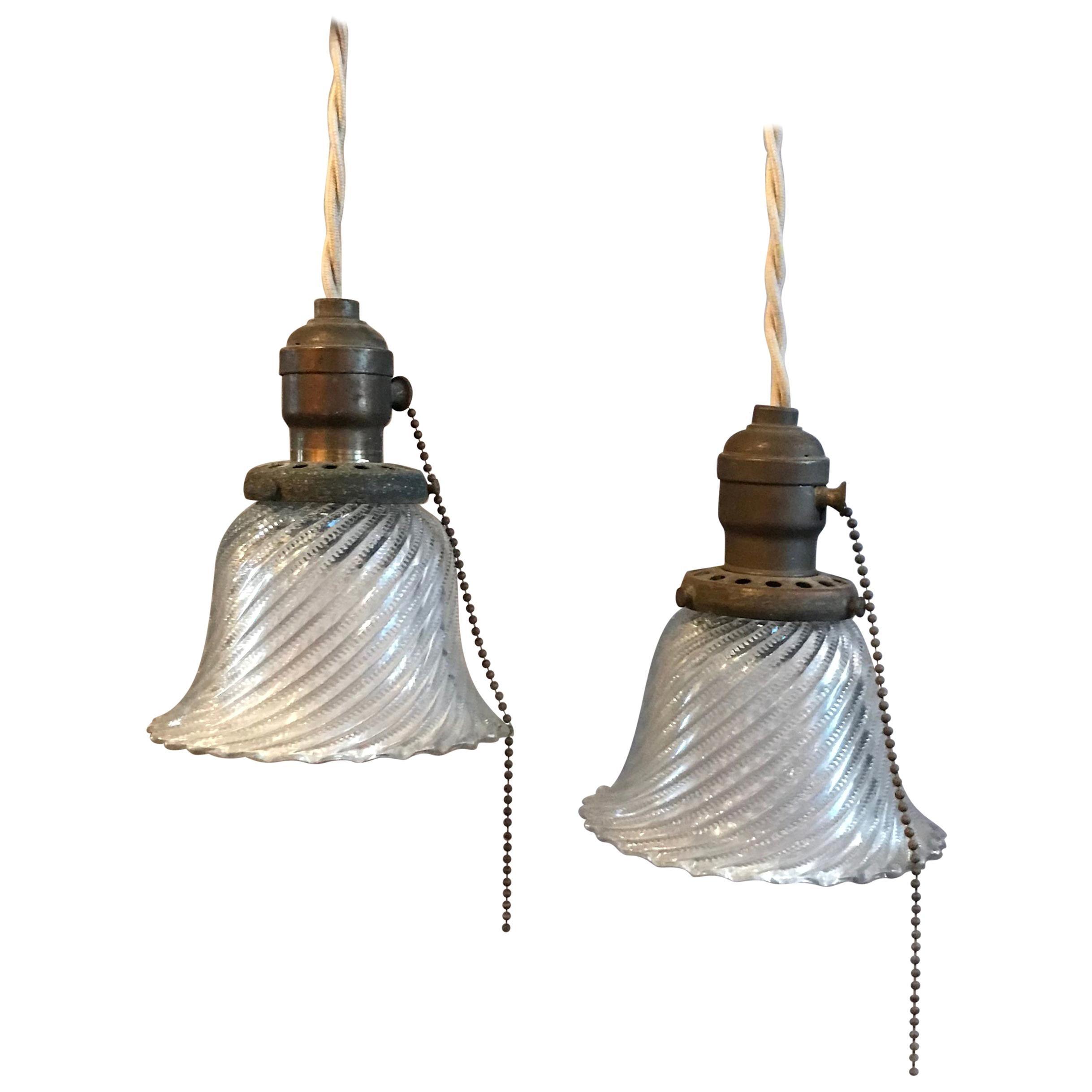 Industrial Petite Diagonal Swirl Holophane Bell Pendant Lights