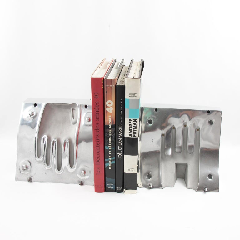French Industrial Polished Stainless Steel Hand Mold Sculpture Bookends, a Pair For Sale