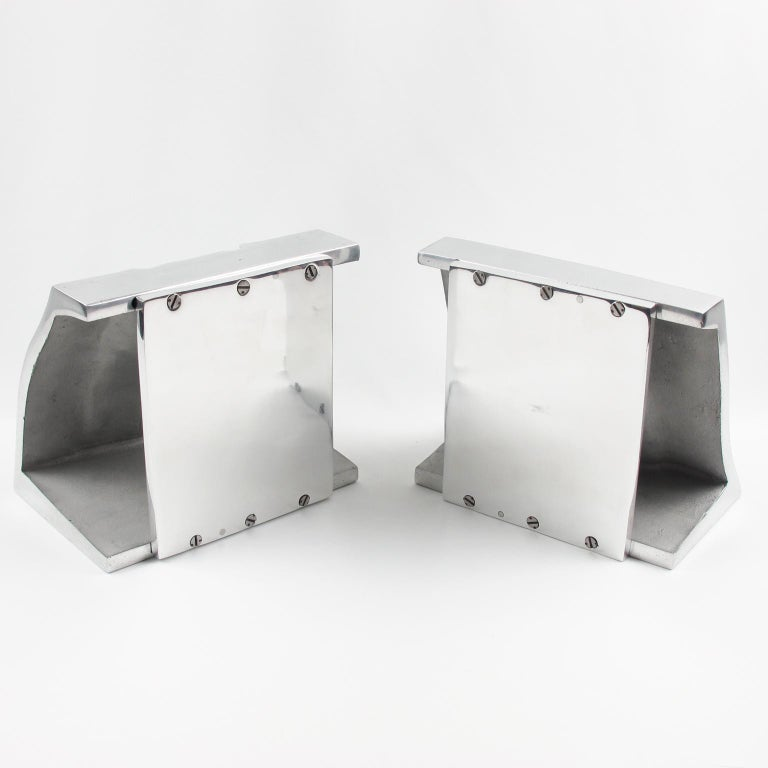 20th Century Industrial Polished Stainless Steel Hand Mold Sculpture Bookends, a Pair For Sale
