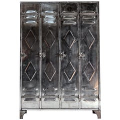 Industrial Polished Steel School Lockers Cabinets, circa 1940s