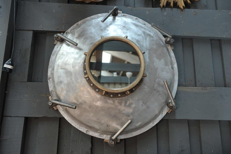 Aluminum Industrial Porthole Window in Aluminium and Riveted Bronze, circa 1900 For Sale