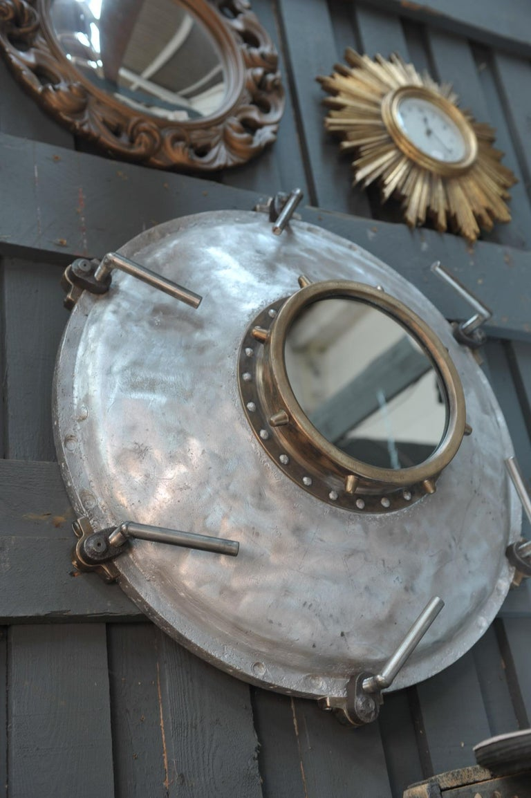 Industrial Porthole Window in Aluminium and Riveted Bronze, circa 1900 For Sale 1