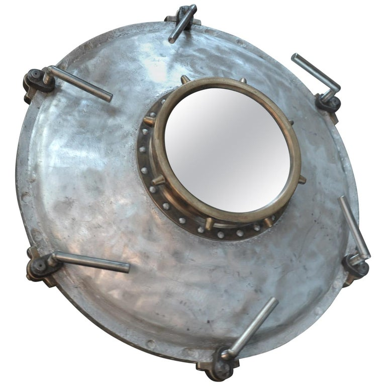 Industrial Porthole Window in Aluminium and Riveted Bronze, circa 1900 For Sale