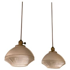 Industrial Prismatic Holophane Glass Factory Pendant Lights