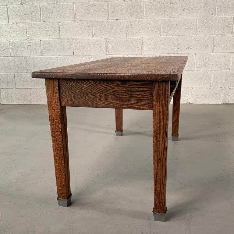 Surprising Industrial Quarter Sawn Oak School Library Table Desk Download Free Architecture Designs Scobabritishbridgeorg