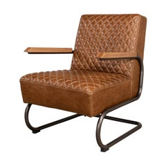 Industrial Quilted Leather Armchair