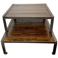 Industrial Reclaimed Wood and Steel Repurposed as a Stacking Coffee Table