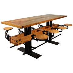 Industrial Restaurant Pub Table with Hideaway Seats